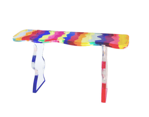 Colored cast acrylic 'Fluid'console by Marco Pettinari