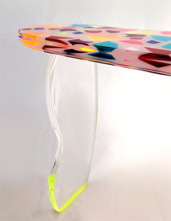 acrylic console table by Marco Pettinari