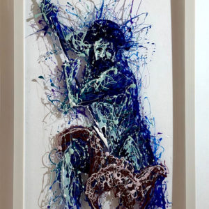 Poseidon painting on plexiglass
