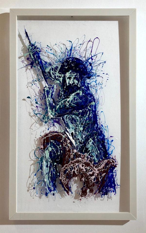 Poseidon painting on plexiglass